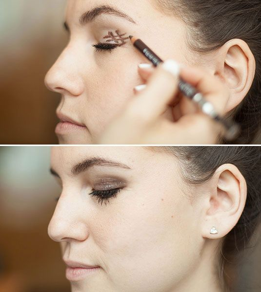 Draw a slanted hashtag at the outer corner of your eye, and then blend it for an instantly smoky effect.