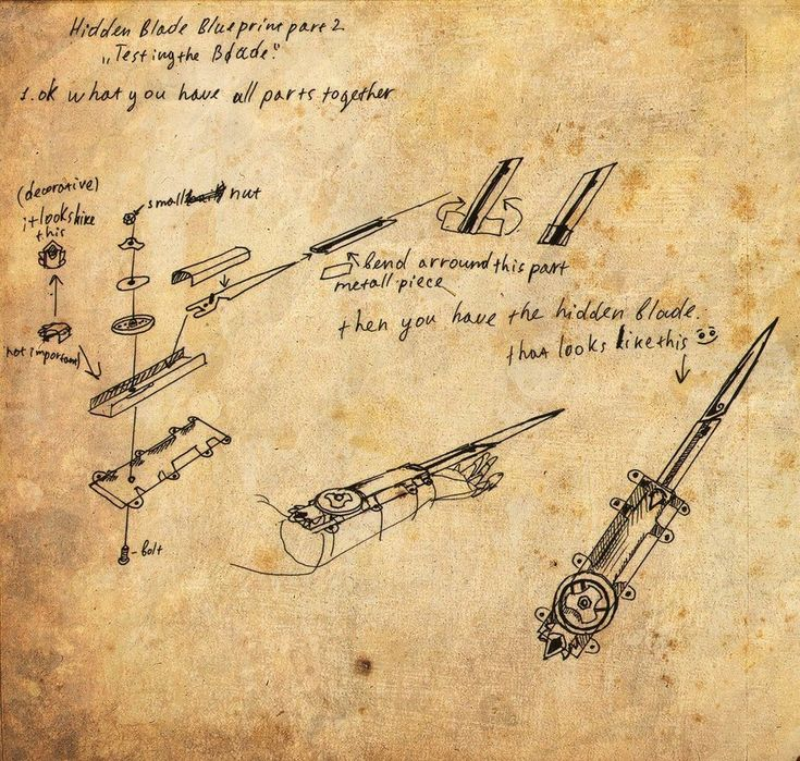Hidden blade blue print. Rough designs for the blade.      nl.assassinscreed.wikia.com
