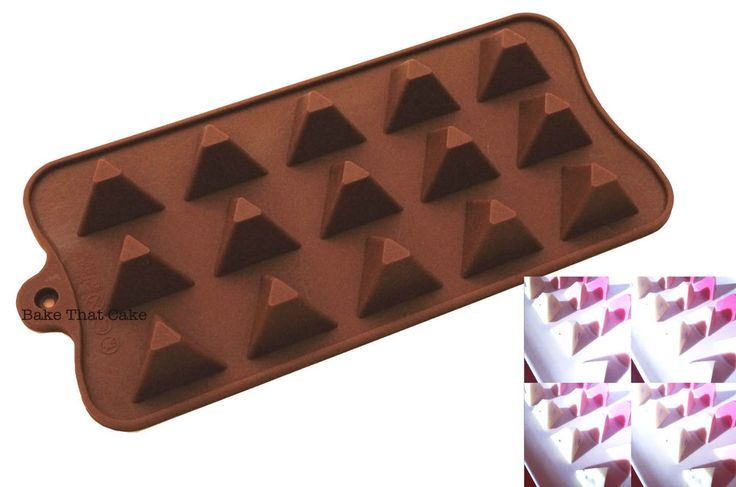 1 x Pyramid Silicone Mould Baking Chocolate Candy Jelly Mold 15 Cavity Brown