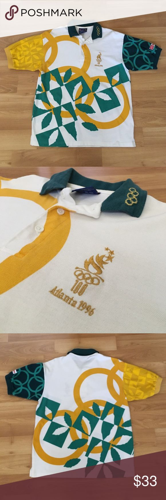 Vintage Atlanta Olympics 1996 Hanes Polo Sz Medium Vintage 1996 Atlanta olympics size medium polo. This is a highly rare, vintage hanes polo from the 1996 olympics. Great fitting polo with stitched logos and the olympics logo on the collar. Hanes Shirts Polos
