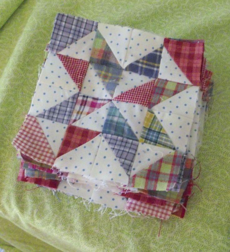 Sara vs. Sarah: Scrap Quilts Again -- gingham+polka dots