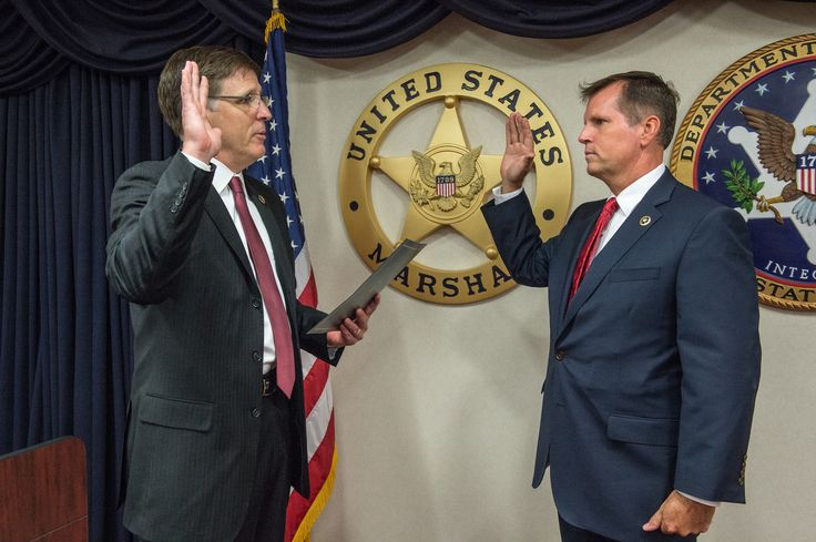 Washington D.C., July 7, 2016, — Deputy Director of the U.S. Marshals Service David Harlow swears in Patrick A. Burke as the Marshal for the District of the District of Columbia at the USMS Headquarters in Washington D.C. Marshal Burke served over 24 years with the Metropolitan Police Department most recently as the Assistant Chief of the MPD's Strategic Services Bureau.  During his MPD career, Burke served in four of the seven police districts, the ...