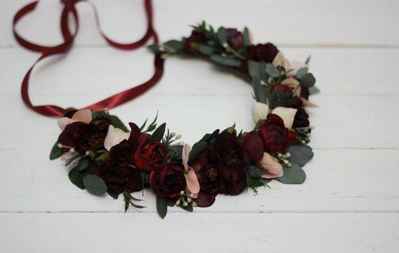 Burgundy dusty rose wedding crown Floral accessories Mommy and me Bridal hairpiece  Flower girl headband Boho wedding Bridesmaid hairs