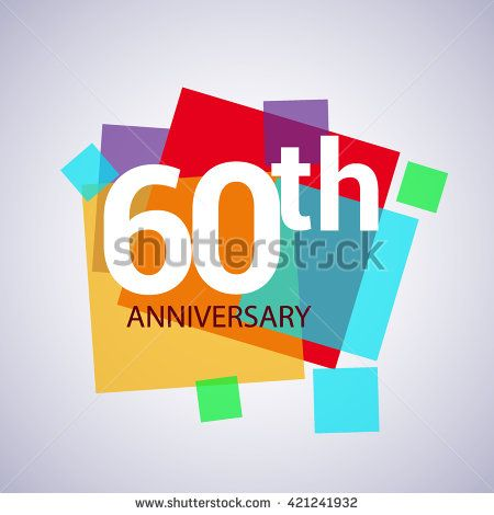 60th anniversary logo, 60 years anniversary colorful vector design. geometric background. - stock vector
