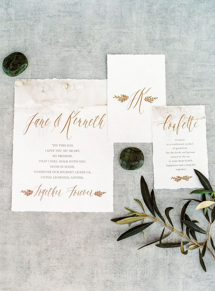 Emerald infused wedding invitation: Photography: Les Anagnou photographers - www.lesanagnou.comRead More on SMP: http://www.stylemepretty.com/destination-weddings/2017/05/09/organic-luxe-wedding-inspiration-in-monemvasia-greece/