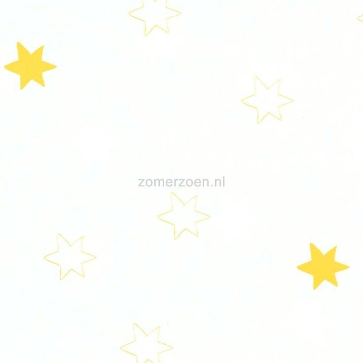 Behang ster wit geel - Onszelf behang wit gele sterren - Zomerzoen.nl