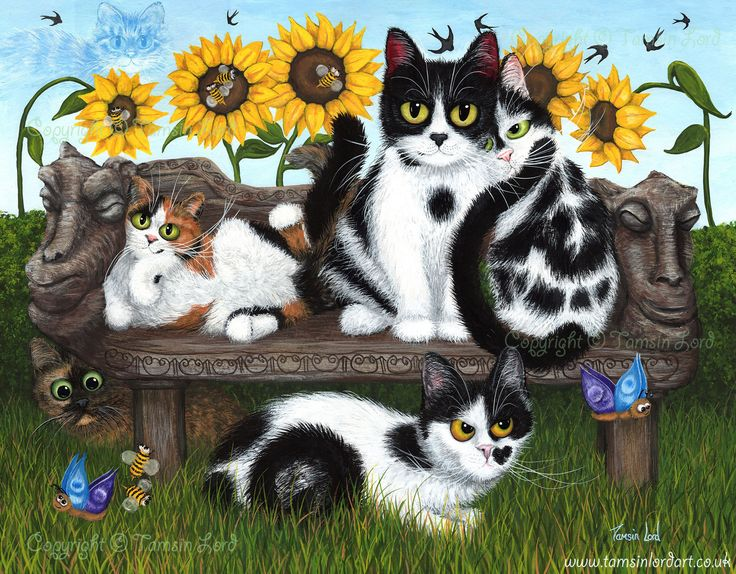'Take Five (Felines)' A commissioned painting by Tamsin Lord