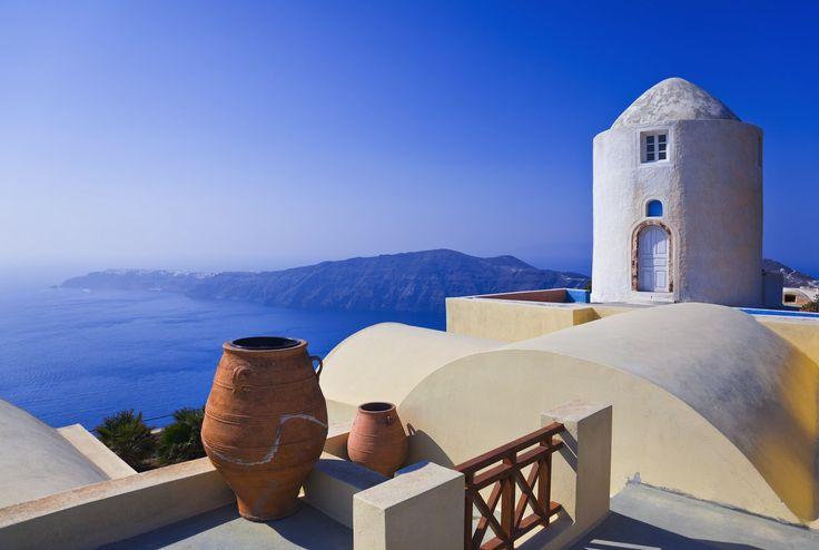 Windmill overlooking the sea on Santorini island