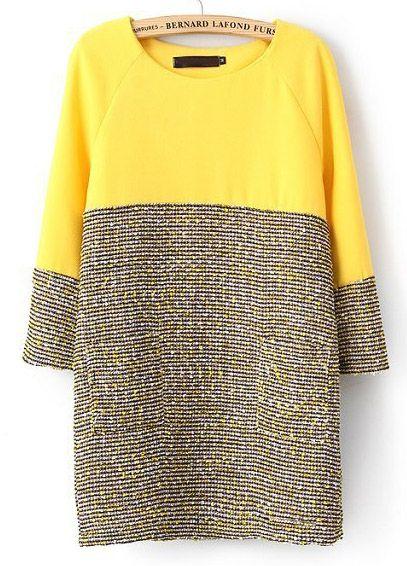 Vestido recto combinado gris manga larga-amarillo EUR€24.81