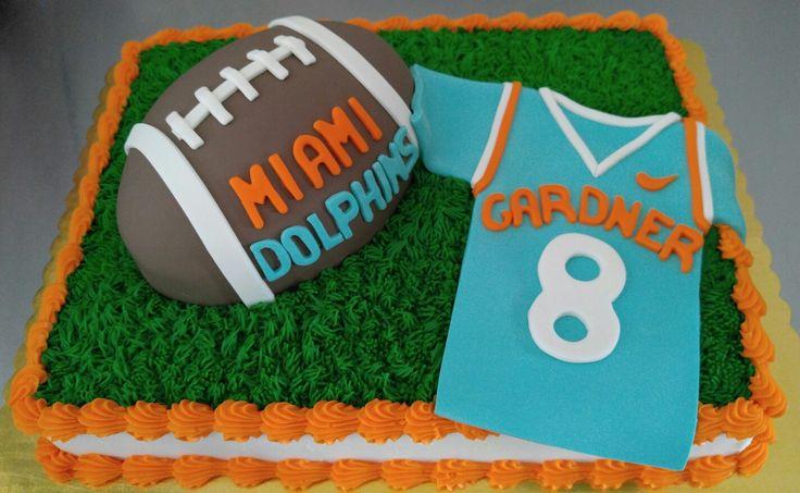 Miami Dolphins Football Fan Cake.  www.VintageBakery.com 803-386-8806
