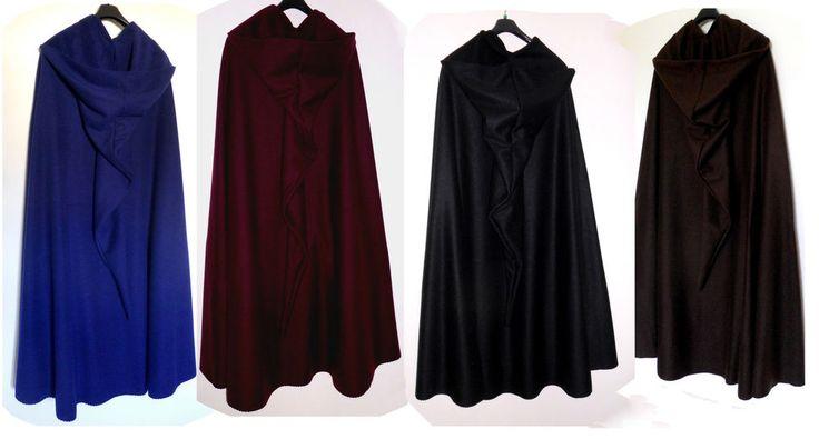 warmer Kapuzenumhang blau weinrot braun schwarz Umhang CAPE Mittelalter Mantel