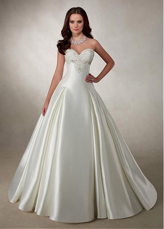 Alluring Satin Sweetheart Neckline A-line Wedding Dresses With Embroidered Beadings