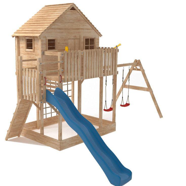 detalles de xxl casa de madera torre juego nio arenero tobogn columpios nuevo