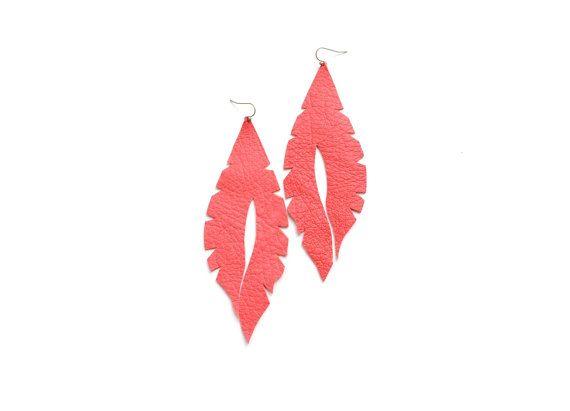 Feather earrings coral earrings leather earrings by elfinadesign