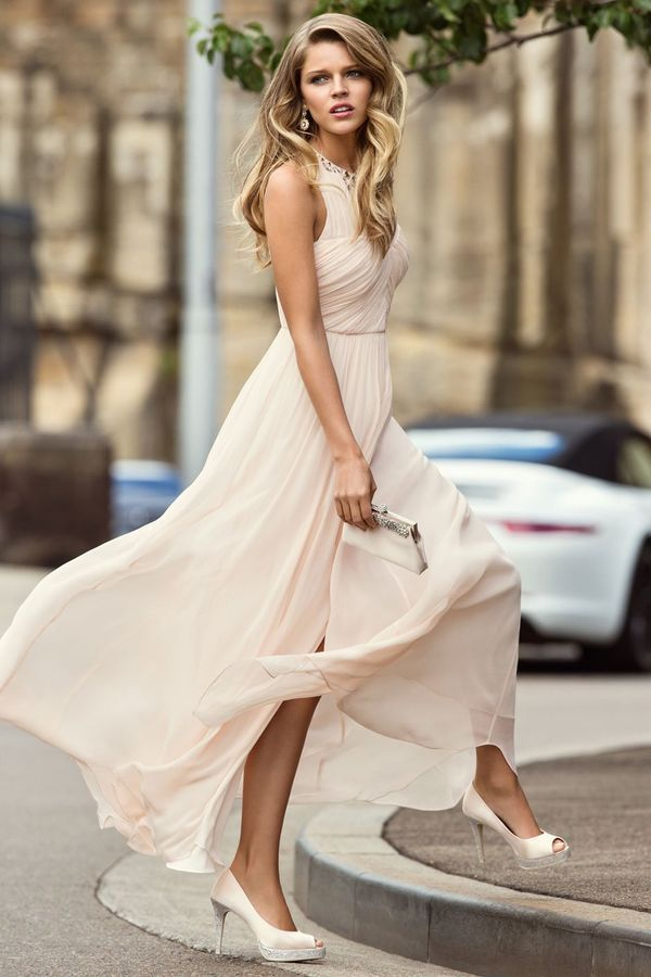 Pastel Pink. Pastel Dress. Blush Pink Ruched Maxi. Forever New