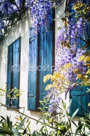 Vecchie finestre con persiane blu. casa tradizionale francese — Immagini Stock #46192159