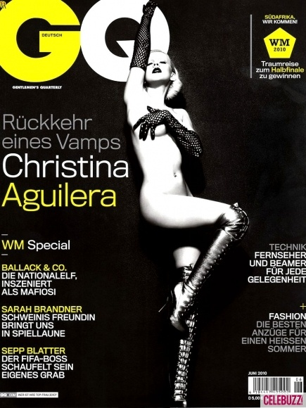 Christina Aguilera strikes sexy pose on German GQ in 2010.: Gq Germany, Gq Covers, Photos Galleries, Germany June, Celebrity Photos, Christina Aguilera, Magazines Covers, Bionic Photoshoot, Christina Aguilera
