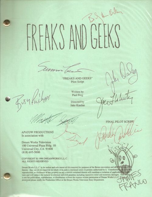 Freaks and Geeks autographed pilot script!!! Omgoodness look at James Franco's signature!! <3
