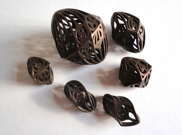 Twisty Spindle Dice Set by ceramicwombat