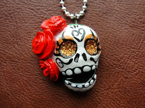 Red Hair Flower Dia De Los Muertos Clay Sugar Skull Shimmer Skull Necklace Day…