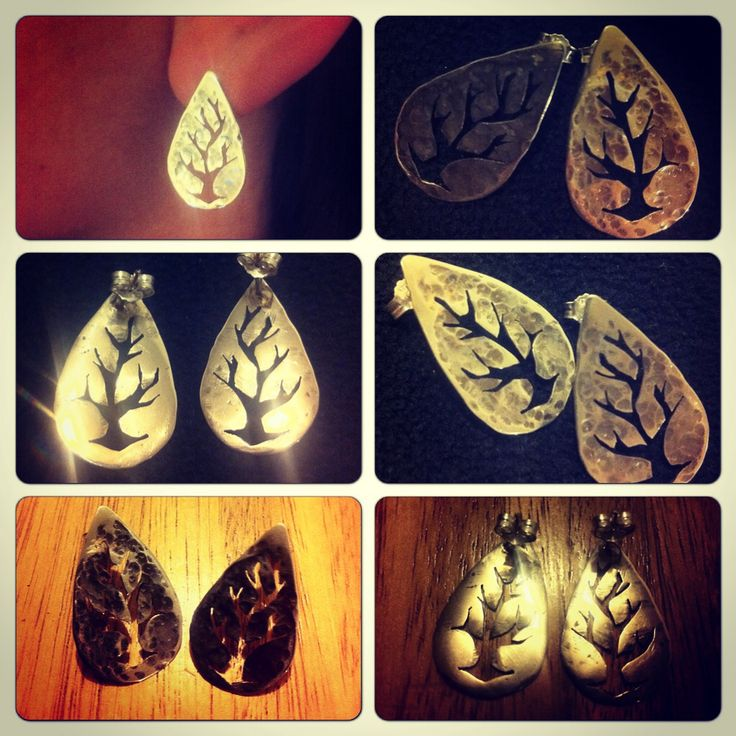 Aros de plata 950, diseño hojas árbol. Hecho a mano. #hechura