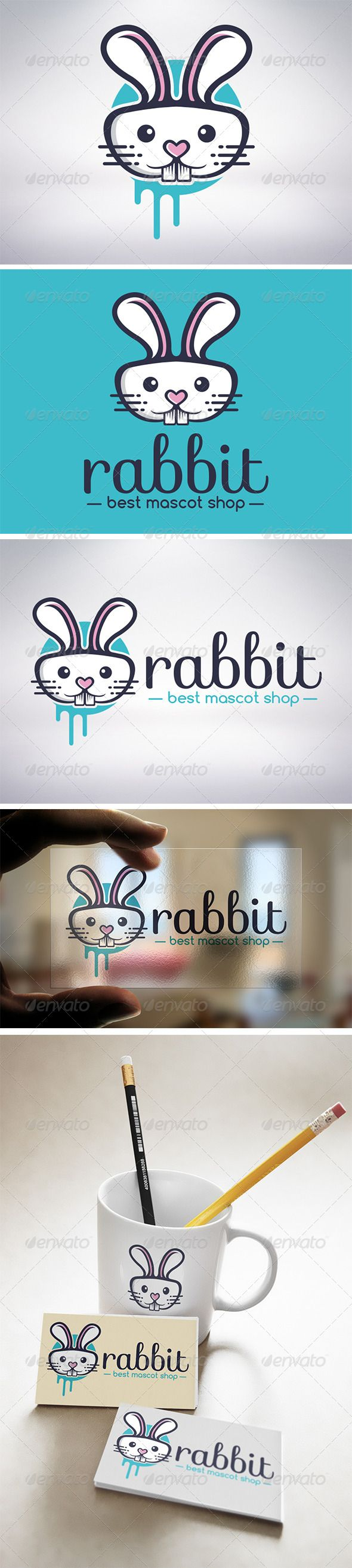 Rabbit Logo #GraphicRiver - Three color version: color, greyscale and sinsizable. - You can change te