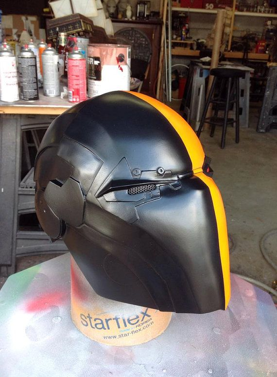 Deathstroke helmet cast in resin and painted. Padded for comfort. Option for either one or two eye ports for visibility. Multiple item discount
