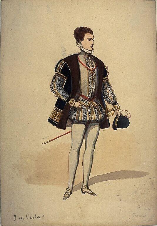 Kostümentwurf für eine männliche Figur in 'Don Karlos, Infant von Spanien' von Friedrich von Schiller | Franz Gaul | Bildindex der Kunst & Architektur