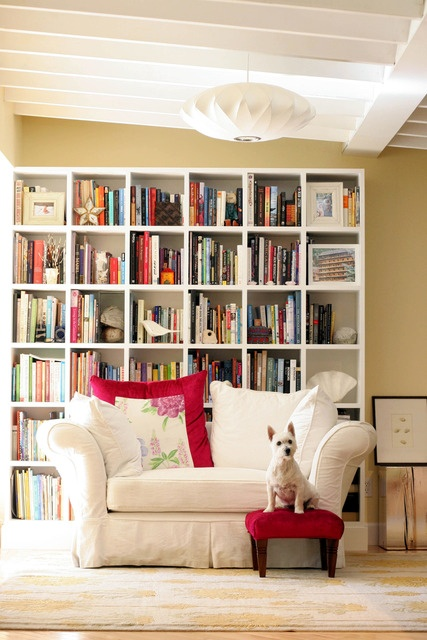 bookcase behind sofa: House Tours, Bookshelves, Living Rooms, Erudite Doggies, Apartment Therapy, Interiors Design, Book Shelves, Modern Mountain, Daily Bookca
