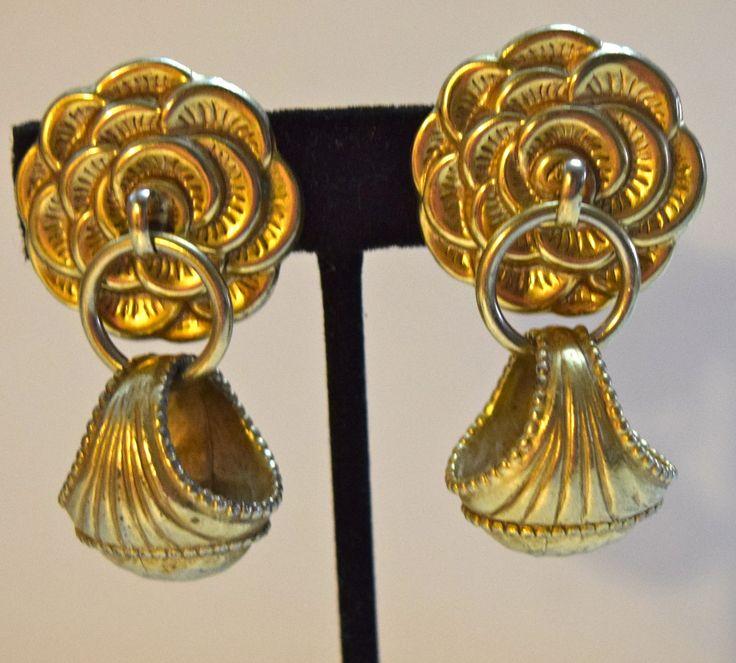 Vintage Costume Floral Chandelier Design Earrings