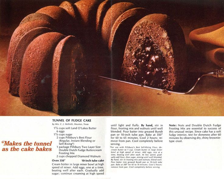 Tunnel of Fudge Cake: The Most Famous Bundt Cake of All Time, With Original and Revised Pillsbury Recipes. http://www.cooksinfo.com/tunnel-of-fudge-cake