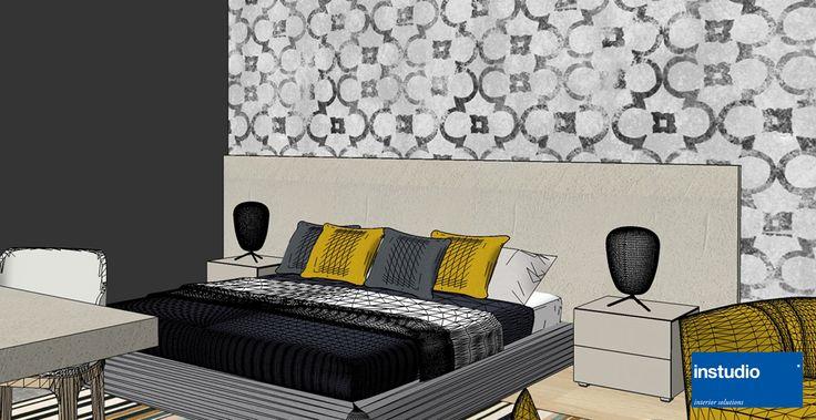Ristrutturazione delle camere per Hotel vista mare. I colori caldi degli elementi d'arredo, con accenti color senape, rendono la stanza fresca e accogliente.