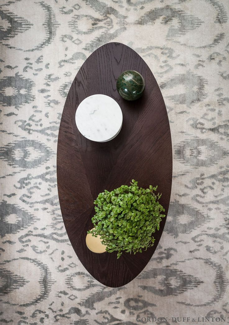 Arial shot of our split veneer coffee table on a silk Shimmer rug from Bazaar Velvet.  #GDLBespokeFurniture