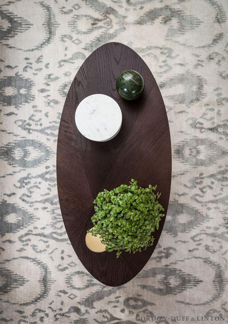 Arial shot of our split veneer coffee table on a silk Shimmer rug from Bazaar Velvet.  #GD&LBespokeFurniture
