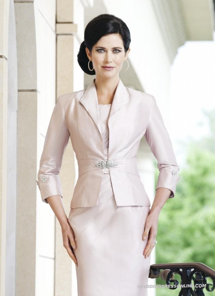 Suitable Chiffon Knee-length Sheath Sleeves Scoop Neckline Mother Of The Bride Dress With Free Jacket In New Season | Glamorous Wedding Guest Dress: Jacket, Mother Of The Bride, Mothers, Wedding Ideas, Brides, Wedding Dress, Bride Dresses