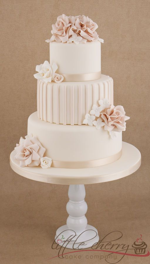 Roses and Stripes 3 tier Wedding Cake