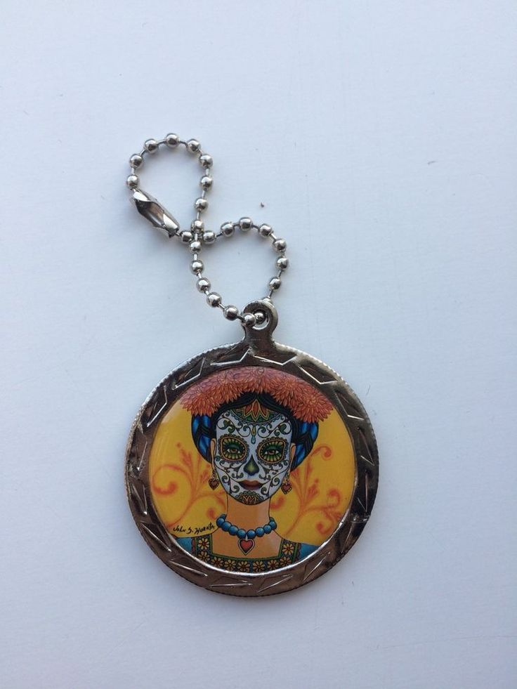 California State Lottery Scratchers Round Charm 2016 Dia De Los Muertos Keychain