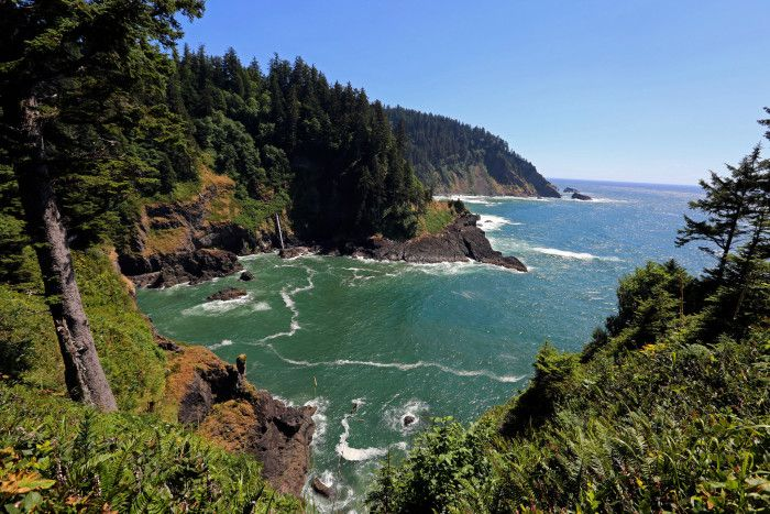 17. Hart's Cove is an enchanting rugged cove on the Oregon coast. The lookout can be found at the end of a beautiful 5.4 mile (round trip) forest hike