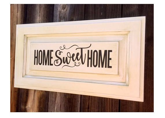 Home Sweet Home Repurposed Cabinet Door Farm Sign Farm