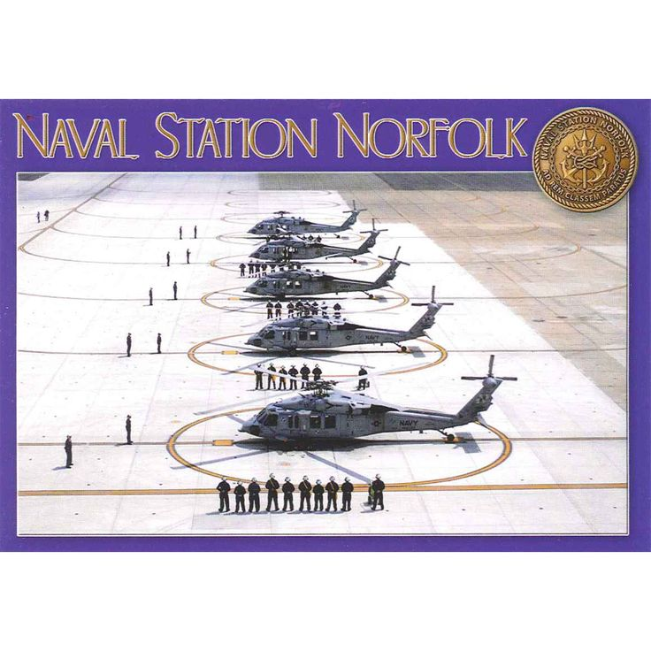 PCVA475 Set 50 X Postcards 4X6 Naval Station Norfolk Helicopters