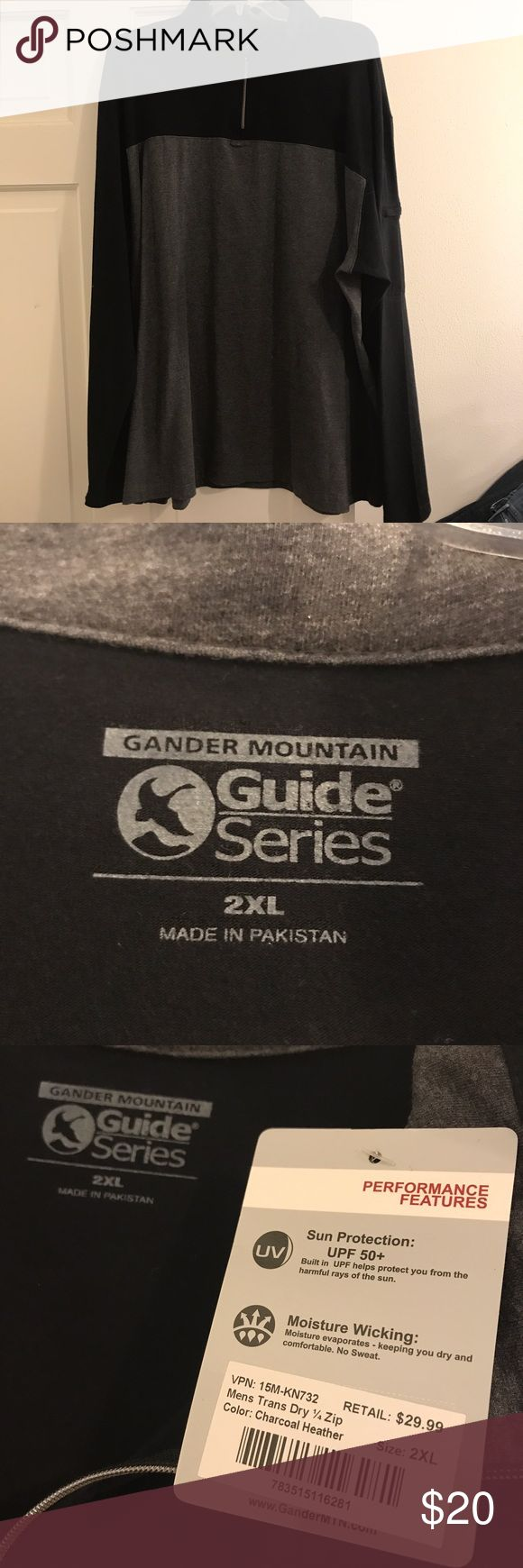 🆕NWT Gander Mountain Guide Series 1/4 zip New with tags Gander Mountain Guide Series 2XL long sleeve 1/4 zip men's shirt in charcoal heather. Also has a zipper on arm, see photo! Husband never wore, so selling on here! Please let me know what questions you have! gander mountain Shirts Tees - Long Sleeve