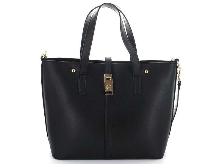 Black Structured Tote with Pouch - The tote has a folding clasp enclosure on the top, to keep ietms inside safe and secure. Included is a pouch which can be attached inside as a compartment separator, or worn as a separate handbag, when included strap is attached. Tote can also be worn as top-handle or shoulder bag, using same removable strap.