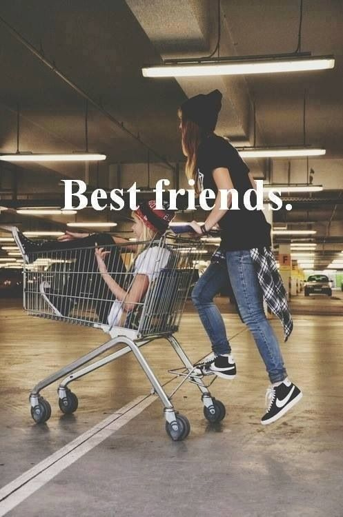Best friends means you do anything and everything with each other, even if that means riding in a shopping cart!