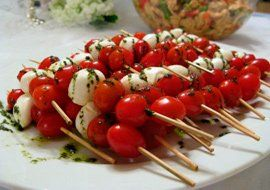 Cherry tomato and mozzarella ball skewers perfect Red and White Canada Day appetizer