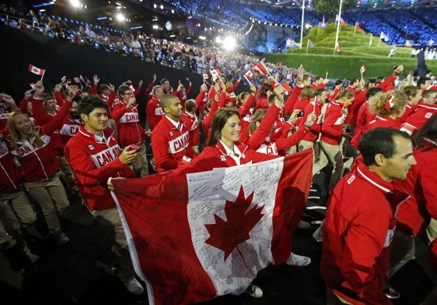 Canada's athletes enter the opening ceremony of the London 2012 Olympic Games