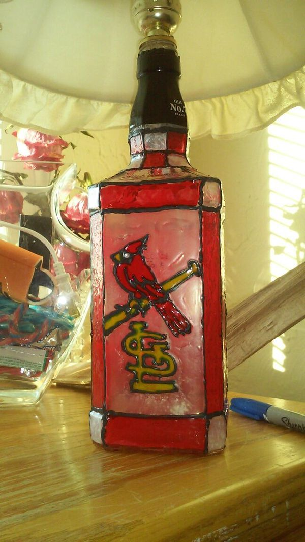 Used (normal wear) - Hand painted stained glass Jack Daniels Bottle