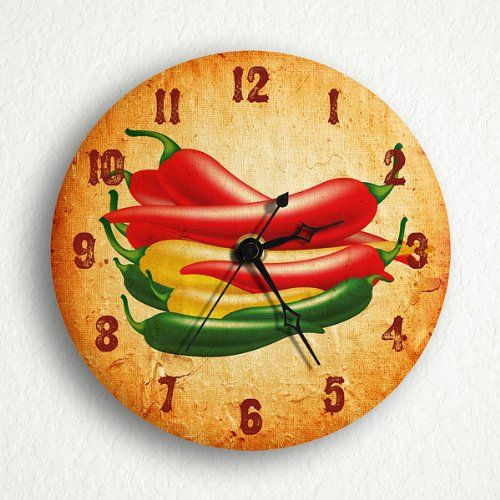 "Southwestern Chili Peppers 6"" Silent Wall Clock"