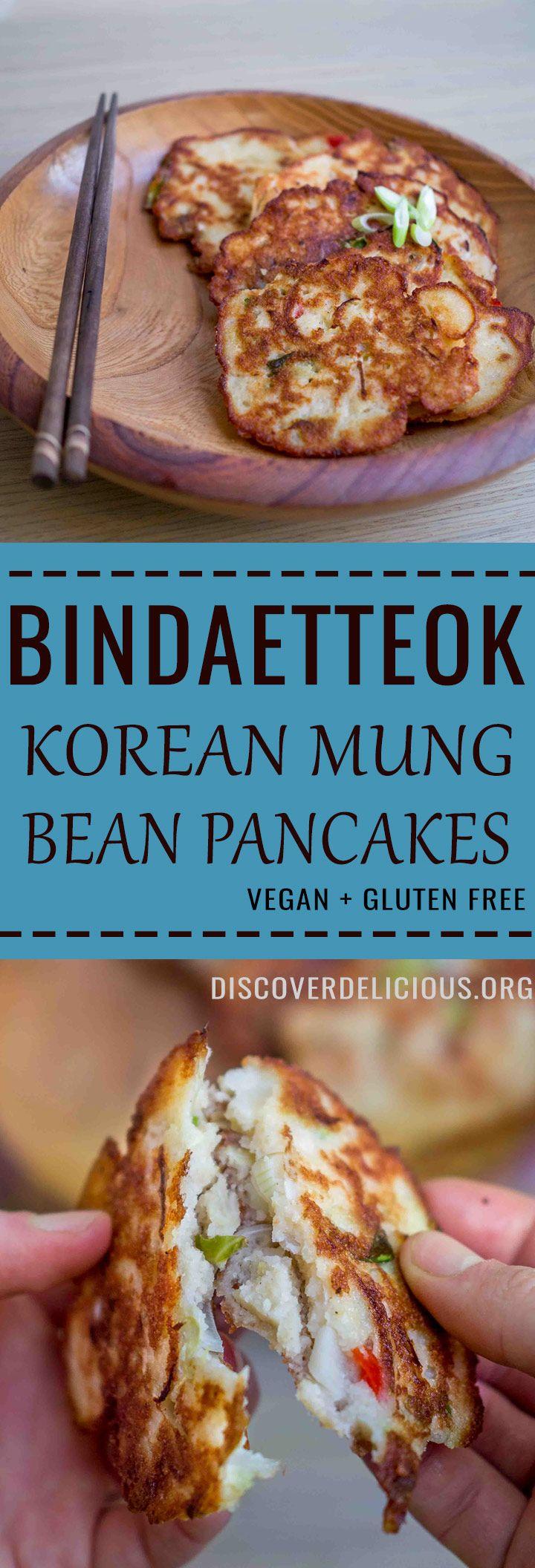 Vegan Bindaetteok - Korean Mung Bean Pancakes. Gluten free | discoverdelicious.org