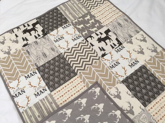 Baby/toddler quilt in neutral colors deer by QuiltsbyJosephine