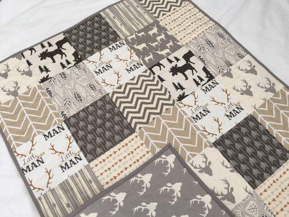 Baby/toddler quilt in neutral colors deer buck moose
